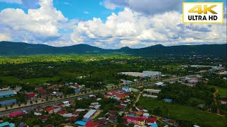【4Kドローン空撮】タイの田舎で見れる透き通るような青空と濃い緑の風景: blue sky and  green earth in countryside of Thailand