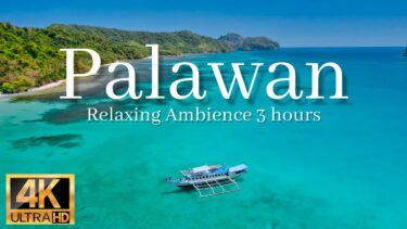 【パラワン 4k映像】癒しの波音3時間、空撮・海外旅行気分風景(ヨガ・読書・勉強・作業用BGM)|Palawan El Nido travel drone 4k video